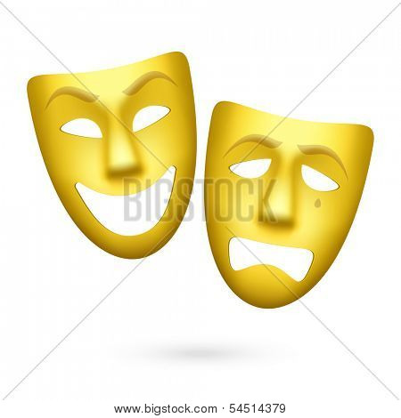 Comedy and tragedy theatrical masks. Vector.