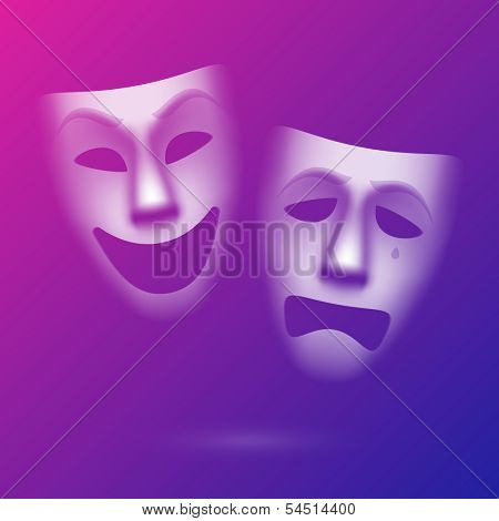 Comedy and tragedy theatrical masks. Easy to edit background color - eps10.