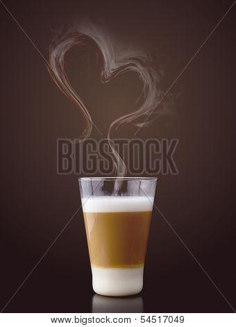 Latte Macchiato With Steam In Heart Shape