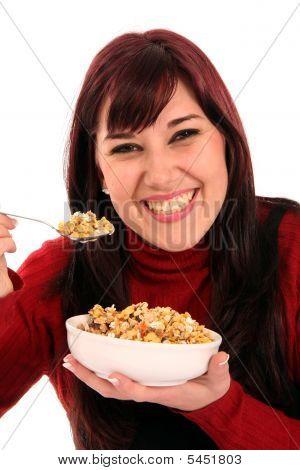 Beautiful Woman Eating Breakfast