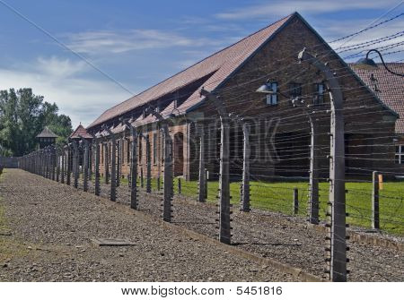Wire Fence And Barrack In A Uschwitz - Birkenau Concentration Camp