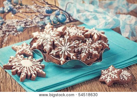 Gingerbread cookies and christmas decoration