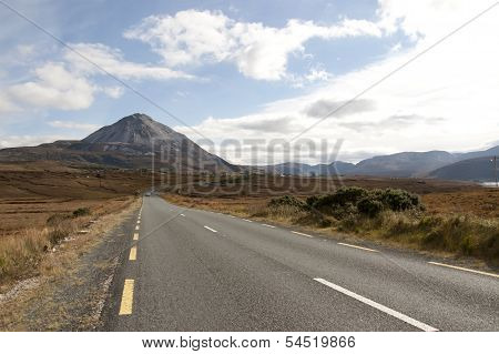 Road To The Errigal Mountains In County Donegal