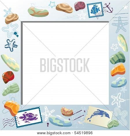Blank Photo Frame With Colorful Sea Stones, Starfishes, Mail Stamps. Vacations Card Background