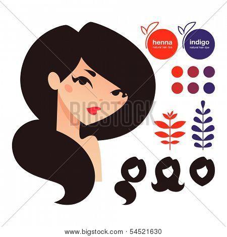 Natural hair dyes henna and indigo icons