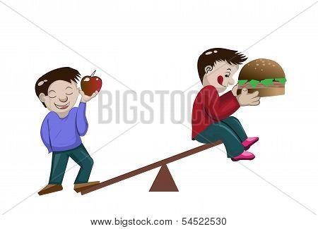 Healthy Boy And Fat Boy On Scale