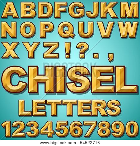 An Alphabet Set of Gold Chiseled Block Letters and Numbers