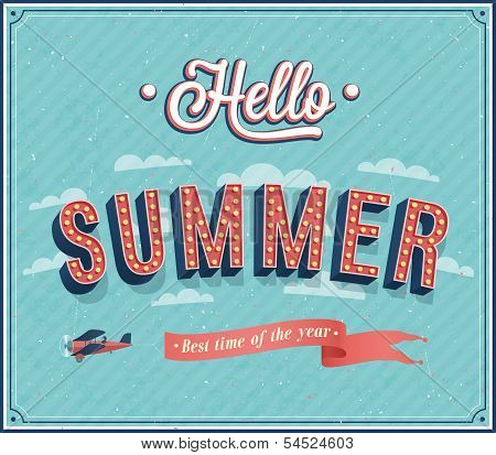 Hello Summer Typographic Design.