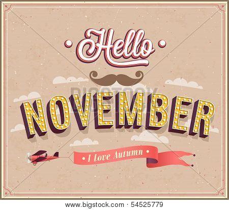 Hello November Typographic Design.
