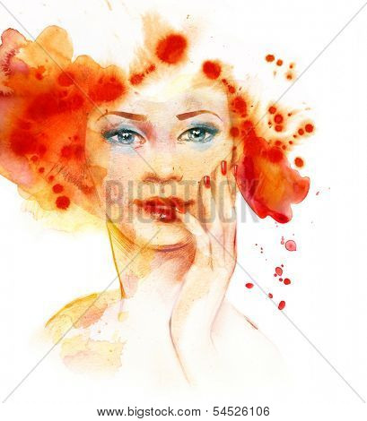 Watercolor fashion illustration of the beautiful red-haired girl.