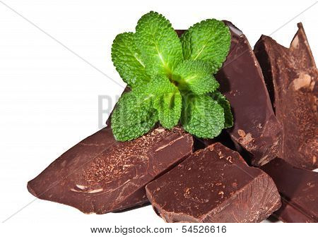 Heap Of  Black Chocolate With Mint