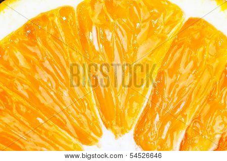 Slice Of Fresh Orange Fruit Closeup Macro