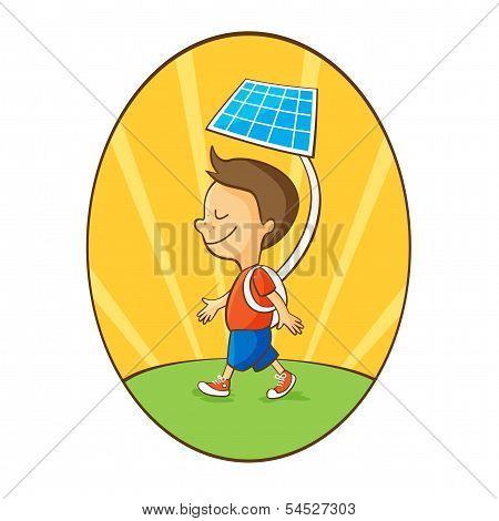 Cartoon boy using solar energy
