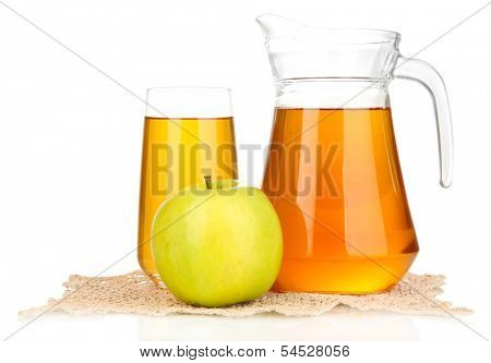 Full glass and jug of apple juice and apple isolted on white