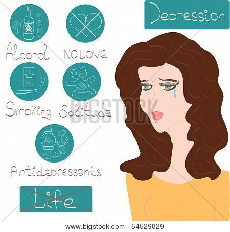 Woman Depression Mental Health Concept