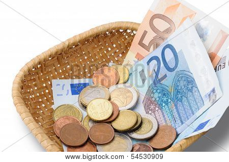 Basket With Euros Money