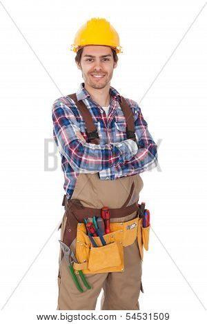 Confident Worker Wearing Tools