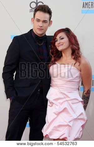 LOS ANGELES - NOV 24:  James Durbin and wife Heidi Lowe at the 2013 American Music Awards Arrivals at Nokia Theater on November 24, 2013 in Los Angeles, CA