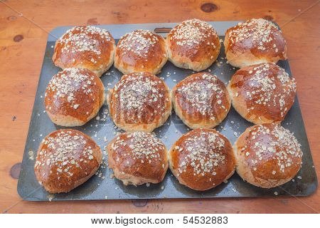 A healthy variety of whole grain breads, oatmeal molasses bread.