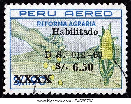 Postage Stamp Peru 1983 Hand, Corn And Field