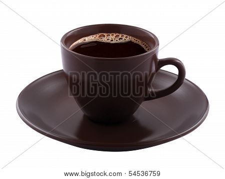 Cup Of Coffee Isolated On White. Clipping Path