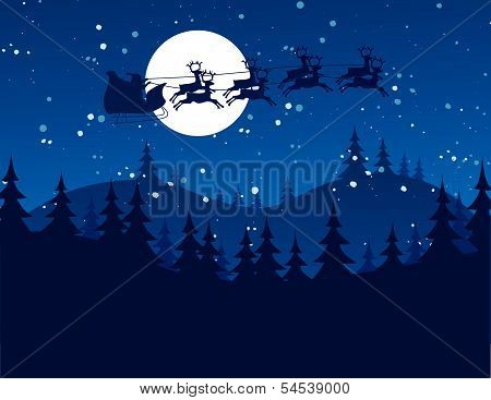 Flying Santa and Christmas Reindeer