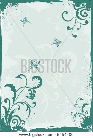 Grunge Green Floral Background