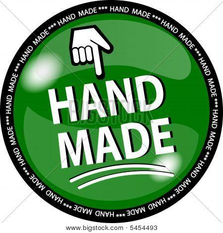 Green Hand Made Button