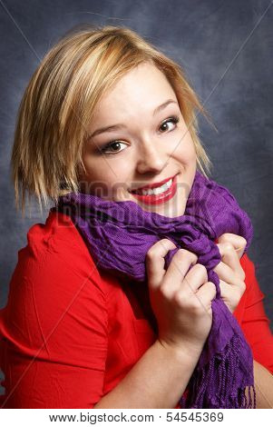 Beautiful Woman And Her Scarf