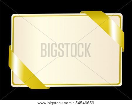Greeting card with golden ribbon