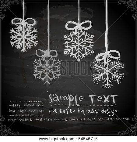Set of Hand Drawn Snowflakes, Chalkboard texture. Chalk Design.