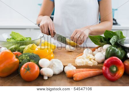 Close-up mid section of a woman chopping vegetables in the kitchen at home