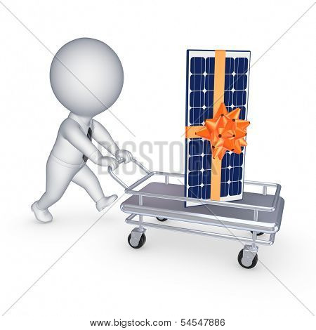 Solar battery on a pushcart.