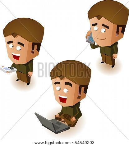 Javanese people online. Vector illustration