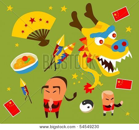 Chinese culture set. hand drawn Vector illustration