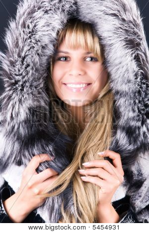 poster of Young Woman With Fluffy Hood