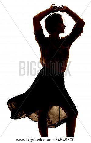 Silhouette Woman Sheer Skirt Dance Close