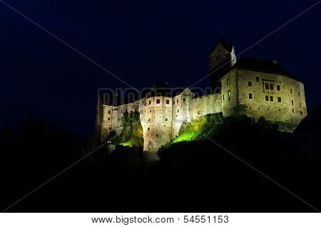 Loket Castle At Night,czech Republic