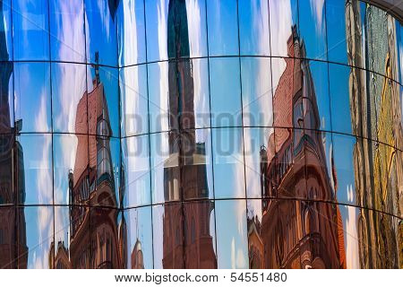 Modern Building With Reflection Of Stephansplatz Square