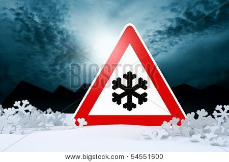 night driving in winter - warning sign