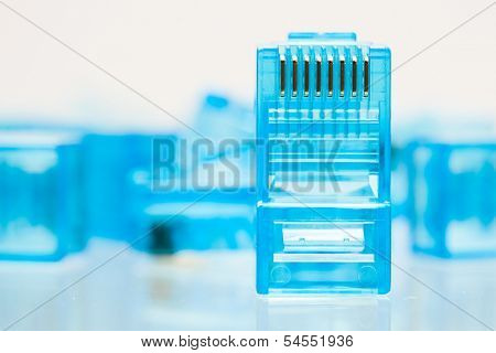 ethernet rj45 blue lan plug, close-up view