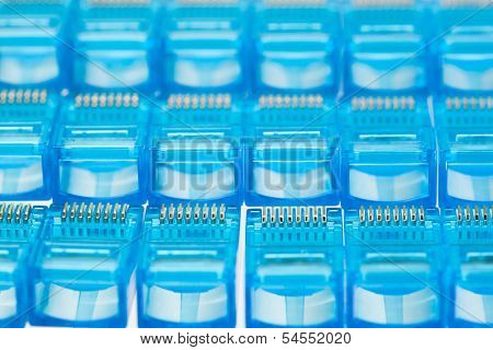 ethernet rj45 blue lan plugs, close-up view