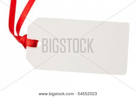 blank gift tag with red ribbon, isolated on white