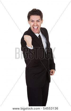 Portraited Of Excited Businessman