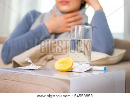 Sick Woman. Flu. Woman Caught Cold. Sneezing into Tissue. Headache. Virus. Medicines