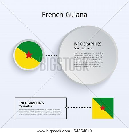 French Guiana Country Set of Banners.
