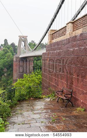Bench At Clifton Suspension Bridge In Bristol