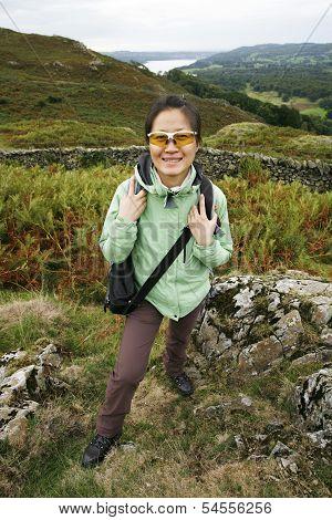 Woman Hiking In Lake District