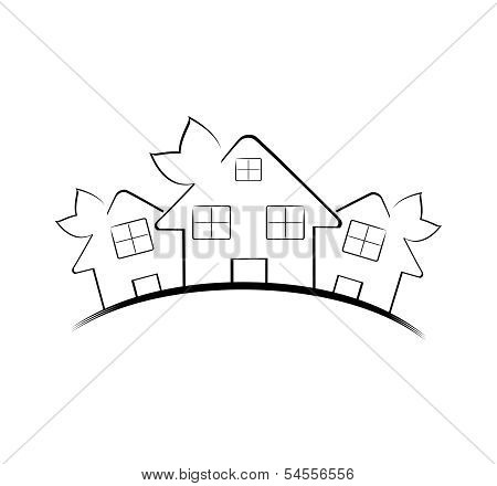 Vector Illustration Of The Three Houses Isolated On White Background. Real Estate Icon