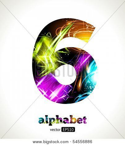 Vector Customizable Light Effect Alphabet. Design Abstract figure 6.